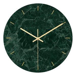Europeo reloj de pared de mármol verde oscuro Luz ULTRAVIOLETA de acrílico material de impresión de estar decoración de la habitación del reloj Silencio