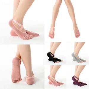 Coton longue taille Yoga chaussettes cinq doigts résistant à l'usure antidérapante Four Season respirante de Split Toe point de plancher en plastique confortable FY6142