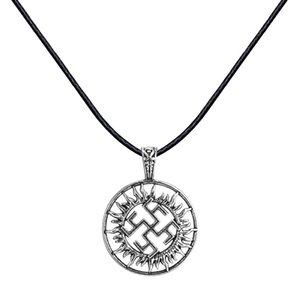Huilin Jewelry New Slavic Pagan Symbol Ciondolo Collana Norreno Gioielli nautici Argento antico Collari in corda nera