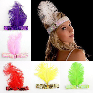 Feather Headband Xmas dança Cosplay Performances Dress Up Props Ostrich Feather Sequins Headband cocar XD22861 Jóias
