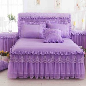 1 Parte Lace saia de cama +2 peças fronhas conjunto de cama princesa cama Colchas folha de cama para a cama Menina tamanho da tampa rei / rainha