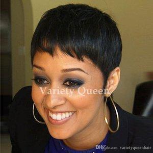 Lace front bob short cut pixie pelucas de cabello humano recto hecho a máquina glueless Chic Cut Ladies pelucas para mujeres negras