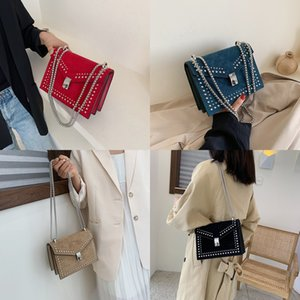 Rivet 2019 shoulder small square Shoulder small square chain frosted messenger bag advanced sense women's bag
