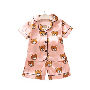 Erkekler Kızlar Tasarımcı Karikatür Bear Ev Giyim Çocuk pijamaları Çocuk İki Parçalı Set Short Sleeve Suit Çocuk Ev Giyim Perakende ayarlar