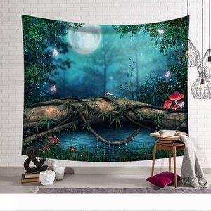 bosque oscuro moderno de la pared decoración de la habitación de tela de poliéster tapiz mural de setas colgando telas decorativas manta de la alfombra