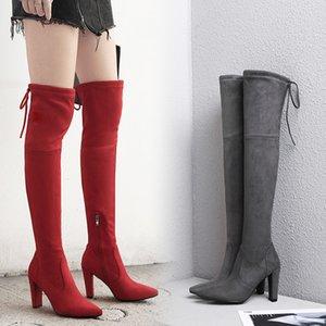 c17 zapatos de cuero BORRUICE partido atractivo de 2019 mujeres de moda ante de los talones de la rodilla Estiramiento Flock invierno botas altas botas