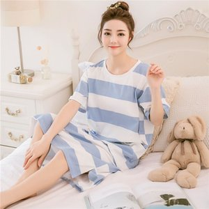 Liva Girl women nightgowns letter print cotton nightdress summer long dress short sleeve ladies sleepwear sleepshirt