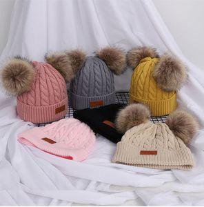 Çift Racoon Kürk Topu Pop Noel Beanie Baby Kids ile Çocuk Boy Kız Kış Termal Örgü Şapka LA167 Caps