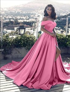 Fast Delivery A Line Off The Shoulder High Split Outdoor Prom Dresses Cap Sleeve Low Price Evening Dresses