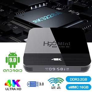 Android 9.0 TV Box Mini soporte H96 H8 Con RK3228A 8GB / 16GB dual Wifi Bluetooth y pantalla digital mejor que la caja MXQ