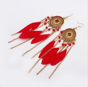 Boucles d'oreilles pompon plume rétro Dangle Chain or émail boucles d'oreilles pour les femmes bijoux de mode Will et Sandy Drop Shipping