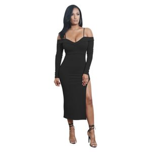 Fuori dai vestiti da donne sexy spalla manica lunga serbatoio Solid Vent V-Collo di sera dei vestiti da partito