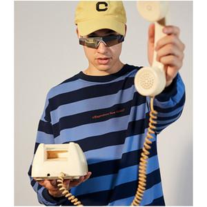 브랜드 스웨터 남성 고품질 디자이너 대형 스트라이프 라운드 넥 셔츠 코트 남성 고급 후드 4 색 아시아 크기