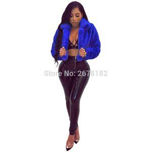 Seksi Sıcak Kabarık Faux Kürk Palto Ceket Kürklü Sahte Kürk Kadın Kırpılmış Ceket Açık Dikiş Palto 6 Renkler Artı Boyutu XXL