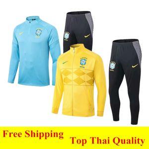 Thai quality 2020 Brazil Men's zipper jacket Tracksuits RONALDINHO 20 21 COUTINHO RODRYGO yellow Football uniform MARCELO Brasil home jersey