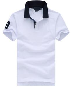 США Мода лето Мужские рубашки поло Большой лошади вышивки отворотом American Design Повседневная Polos Мужчины Хлопок Футболки для молодежи Мужской белый