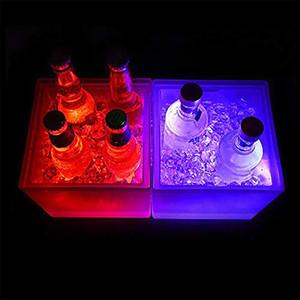 Impermeabile 3.5L LED benna di ghiaccio Double Layer Square Bar Birra secchiello per il ghiaccio Multi-Color Changing durevole Ice Wine Bucket Per Bar discoteca