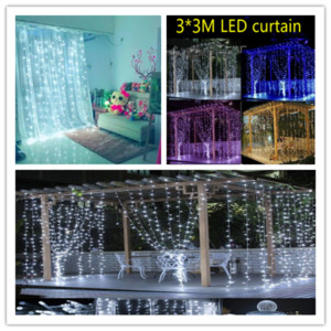 2020 Wedding Bed Decor light 3Mx3M 300leds led curtain string Colors fairy light 300 bulb Christmas Wedding home garden party Orament LY228