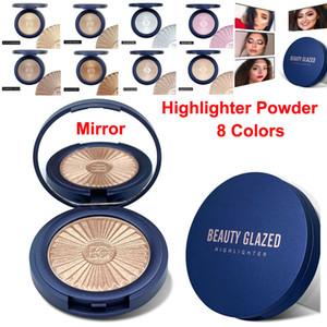 Güzellik Camlı Makyaj İşaretleyici Kontur Glow Toz Şekillendirici cilt aydınlatmak Yüz Bronzlaştırıcı Allık Eyeshadow Palet 8 Renk Işıltılı toz