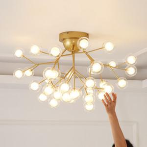 Moderne Baum Ast Kronleuchter Decken Nordic-Ball Licht Leuchte Designer Wohnzimmer / Schlafzimmer Firefly-Deckenleuchte / Lampe