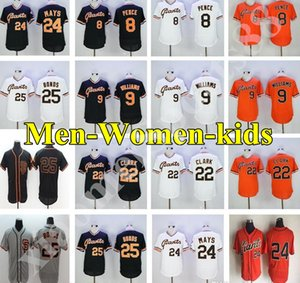2019 Mens SF Giants 8 Hunter Pence 9 Matt Williams 22 Clar 24 Willie May 25 Barry Bonds Baseball-Shirts Frauen