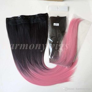 L Synthetic Hair Ponytail Clip In Ponytails Hair 22inch 120g Ombre 1b &Pink Two Tone Color Straight Hair Extensions