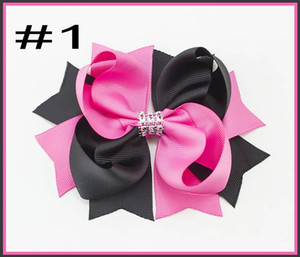 Free shipping 30pcs 5.5 'rhonestones two tone hair bows twist boutique hair clips girl hair accessories