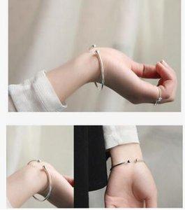 Double Ball Silver Bracelet Women Open Bangle Cuff Wristband Hand Cuffs 925 Sterling Silver Bracelets
