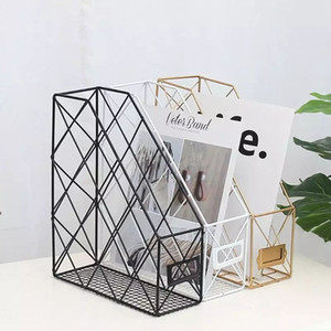 Nordic Iron File Storage Rack Home Office Desktop Book Magazine Finishing Rose Gold Table Accessories Organizer