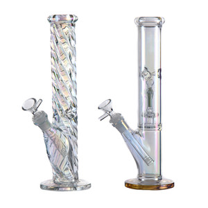 12,5 pulgadas bongs de vidrio de agua arco iris de vidrio bong tuberías de agua hookah Luminous Cubilete Bong con recipiente de vidrio de 14 mm conjunta Downstem para fumar