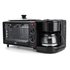 3 Em 1 Pequeno-almoço elétrica fabricante de Máquina Multifuncional Coffee frigideira mini-pizza do forno de pão domésticos forno frigideira
