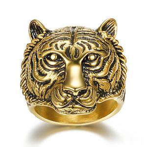 جديد كول ستانلس ستيل للرجال عصابة النمر رئيس ملك الحيوان مجوهرات الذهب اللون الشرير الصخرة البنصر للرجال الأزياء والمجوهرات