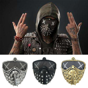 Punk Rivet маски Halloween Devil Anime Face Mask Watch Dogs Metallic Color привидение Steampunk Маски Маскарад Смерть Cosplay этап партия реквизит