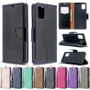 Samsung Galaxy A01 A21 A51 A71 S20 PLUS Ultra Wallet Housse en cuir Bracelet perle Litchi ID flip titulaire de la carte stands peau Couverture luxe 50pcs
