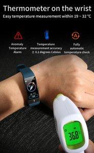 Corpo a buon mercato di misurazione temperatura Pressione E66 intelligente Guarda Sport intelligente Bracciale con ECG frequenza cardiaca Sangue Fitness Health Tracker Smartwatches