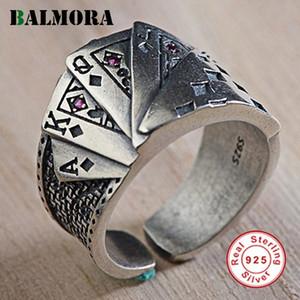 Balmora Argento 925 Carte da gioco Anelli aperti per gli uomini Design unico Thai argento Anello gioielli di moda Anillos Sy22232 Y19051002