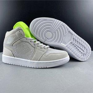 Nouvelle version authentique Air1 mi WMNS chaussures de basket-ball 1 Mi vaste Gris CV3018-001 Hommes Femmes En Plein Air formateur Sport sneakers US 4-13