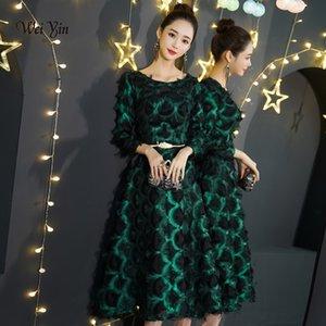 weiyin Nuovi abiti da sera verdi Lunghezza del merletto A-line Elegante abito da cerimonia di laurea da compleanno WY1295