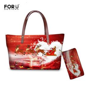 Gir için FORUDESIGNS Noel / Mutlu Yıllar 2020 Kadınlar HandbagsWallet Seti Büyük Bayanlar Bez Omuz Çantaları Kadın Messenger Çanta