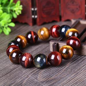 Joursneige Natürliche Farbe Tigerauge Stein Armband 12-20mm Perlen Kristall Armband Für Männer Frauen Glück Armband Schmuck SH190727