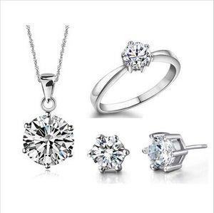 Wedding Fine Jewelry Sets Real Pure Silver Plated 6 лапка Кубического циркона CZ кулон ожерелье серьги кольцо Обручальное Set