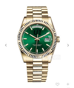Al aire libre los 41MM Verde Dial hombres del movimiento del presidente oro amarillo automático de pulsera Día pulsera del reloj para hombre de cristal de zafiro y relojes Fecha
