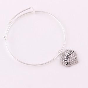 Fashion Type Charm a forma di cuore in cristallo MAJORETTE MARINES FEDE DAD MARIA MOGLIE Bracciale con lettera incisa