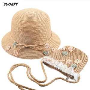 SUOGRY Hat Baby 2020 Summer Cap Breathable Straw Hats Children's Flower sunhat Kids Cute Solid Girls Hats and bag set