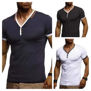 Designer lambrissé Bouton courte Tshirt Tshirt Tshirt Homme à rayures T-shirts Été Hauts Hauts Tops Vedu