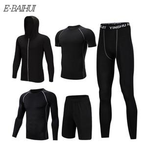 E-BAIHUI 5 шт. новый фитнес-костюм спортивная одежда Мужская с капюшоном свитер из пяти частей костюм баскетбол работает тренировочный костюм 010