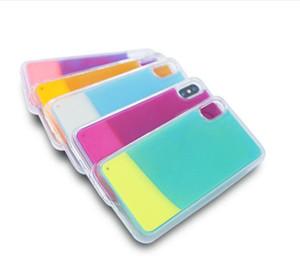 Luminoso neon sabbia per il caso di iPhone 11 Pro Max XR XS Max Glow In Dark Liquid Glitter Sabbie Mobili Copertura Del Telefono Per huawei