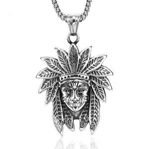 jingyang stainless steel vintage Indian chief titanium steel men's necklaces & pendants power necklace best friends pendant chains