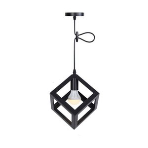Vintage Black Cube Pyramid E27 Pendant Lamp American Style Luminaria Pendente Ceiling Hanging Lights Lampadari Gy Lighting