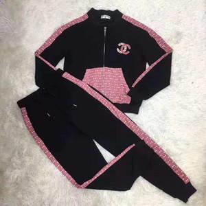 2019 collar del soporte de la capa de manga larga y pantalones largos Marca mismo estilo 2 piezas de piel de las mujeres 11,3-12